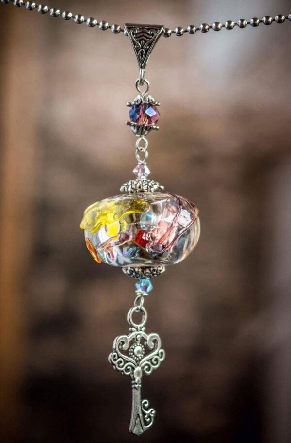 Multicolored glass pendant
