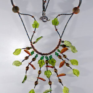 Elaborate Green and Brown Glass Leafs (not lampwork)