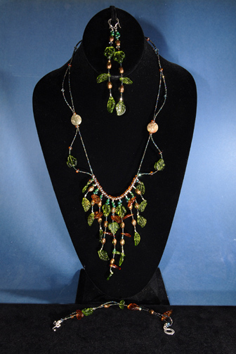 Elaborate Green and Brown Glass Leaves (not lampwork)