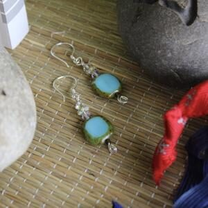 Sterling Silver Earrings with light blue Czech glass and Swarovski crystals